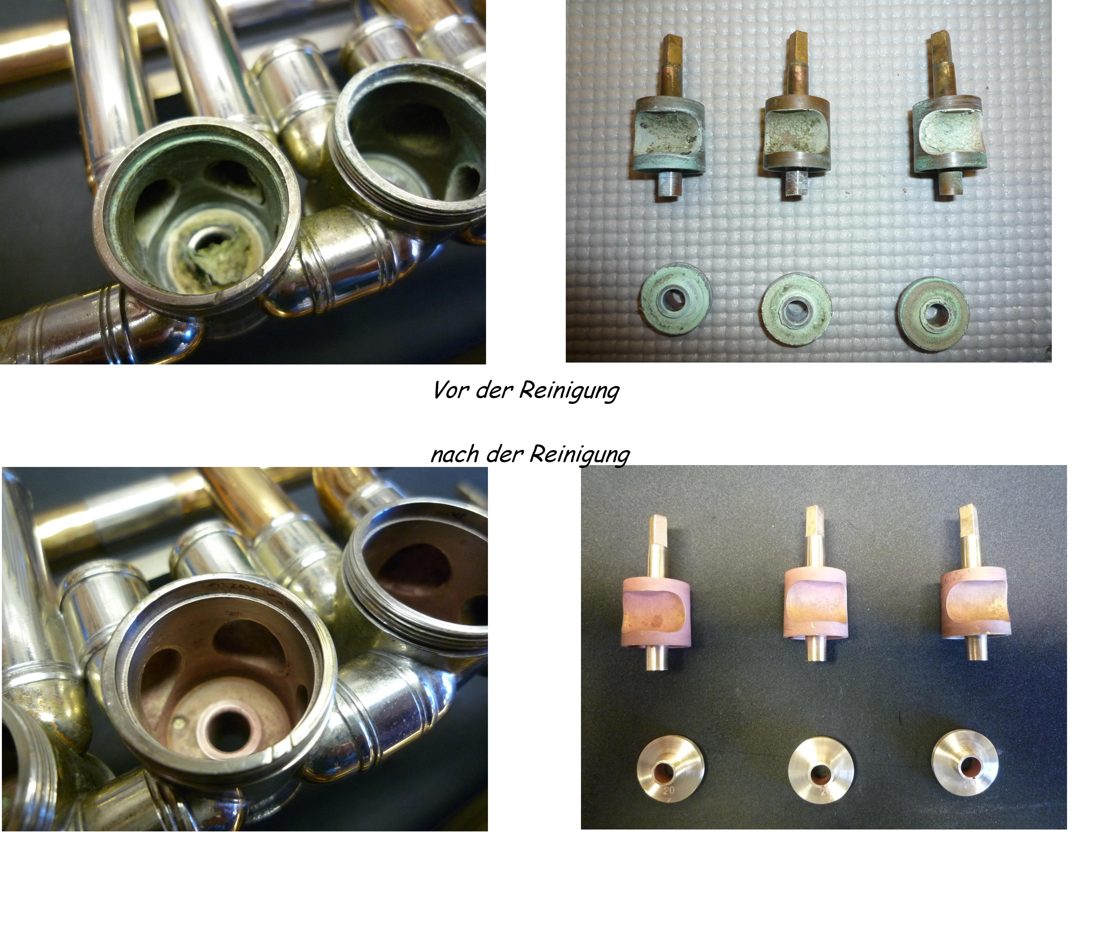 Maschinenreinigung Trompete vorher und nachher